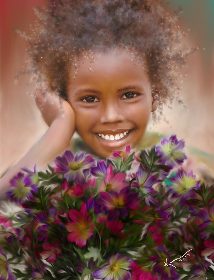 African Painting - Smile 2 by Kume Bryant