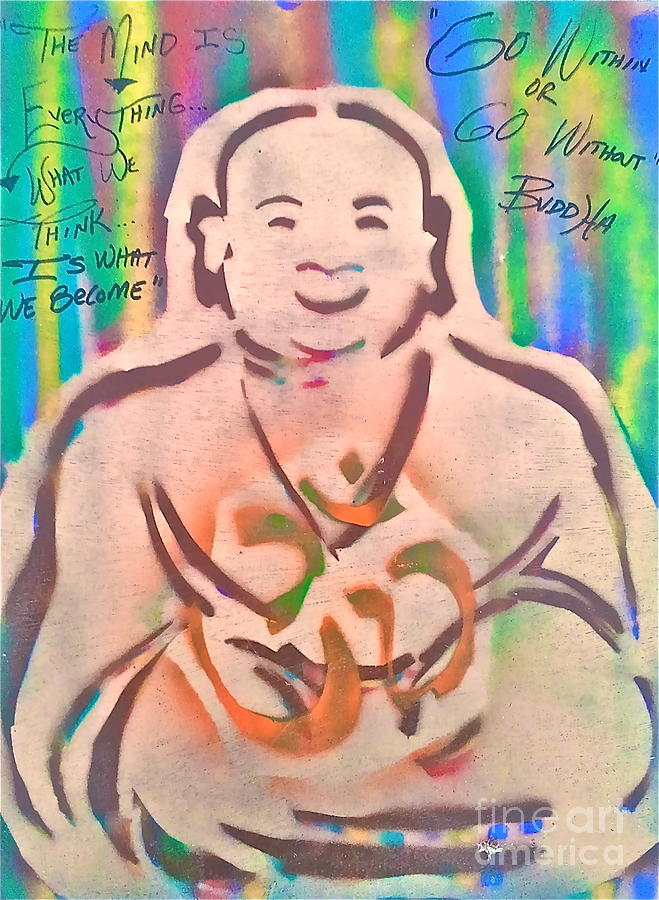 Smiling Brown Buddha  Painting  - Smiling Brown Buddha  Fine Art Print