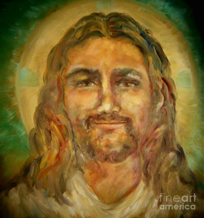 Savior Painting - Smiling Jesus  by Suzanne Reynolds