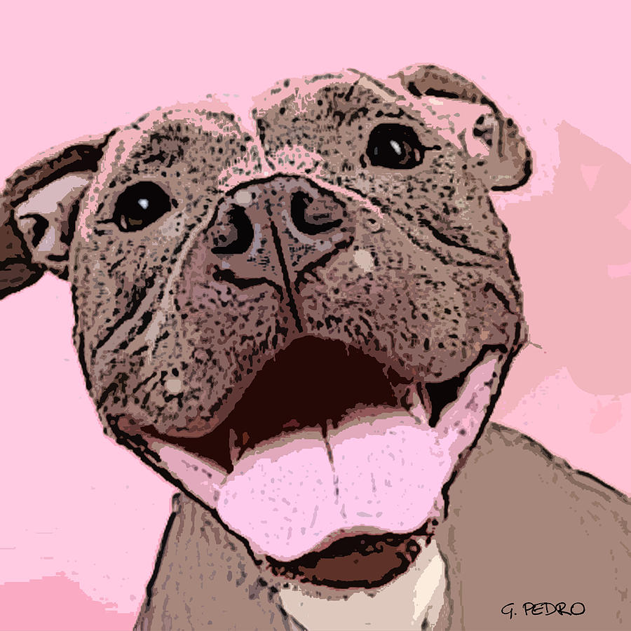 Smiling Pitbull Painting  - Smiling Pitbull Fine Art Print