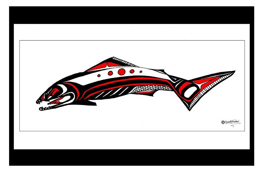 Smiling Salmon Drawing