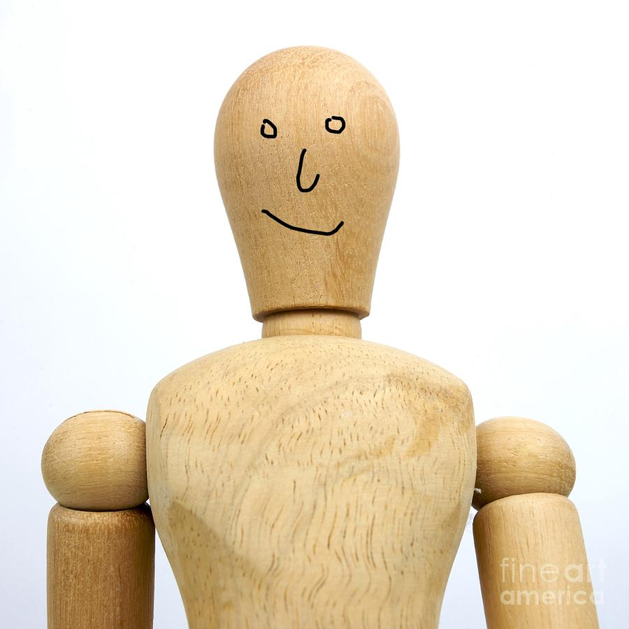 Smiling Wooden Figurine Photograph  - Smiling Wooden Figurine Fine Art Print