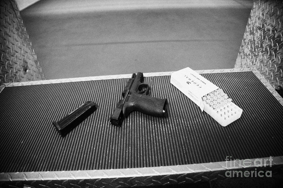 Smith And Wesson 9mm Handgun With Ammunition At A Gun Range In Florida Usa Photograph  - Smith And Wesson 9mm Handgun With Ammunition At A Gun Range In Florida Usa Fine Art Print