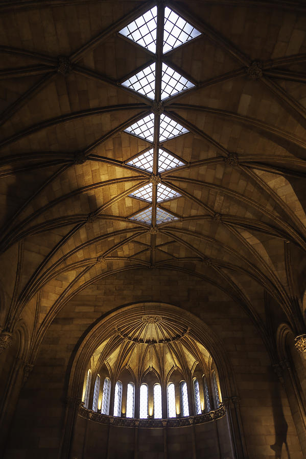 The Building Is Completed In The Gothic Revival Style With Romanesque Motifs. Smithsonian Photograph - Smithsonian Castle Vaulted Ceiling by Lynn Palmer