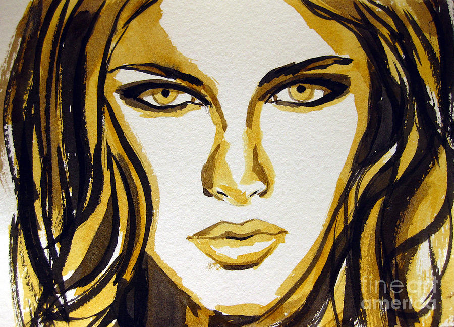 Smokey Eyes Woman Portrait Painting  - Smokey Eyes Woman Portrait Fine Art Print