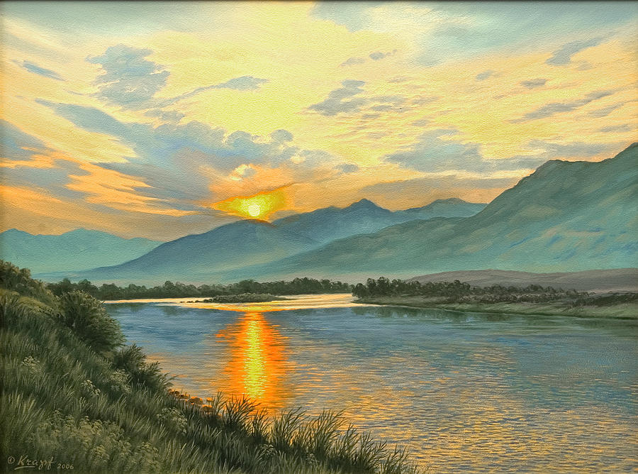 Smoky Sunrise-yellowstone River   Painting