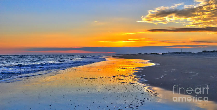 Smooth Sunset On Ocracoke Outer Banks Painting