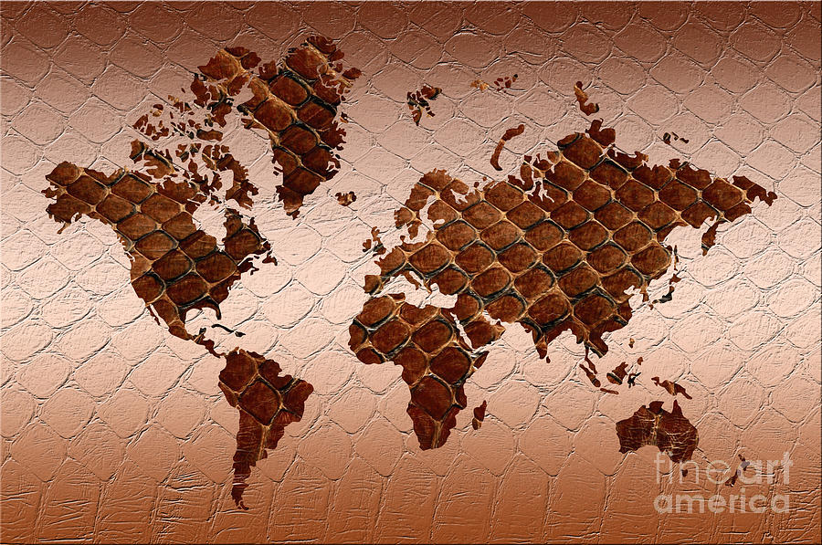 Snake Skin World Map Painting