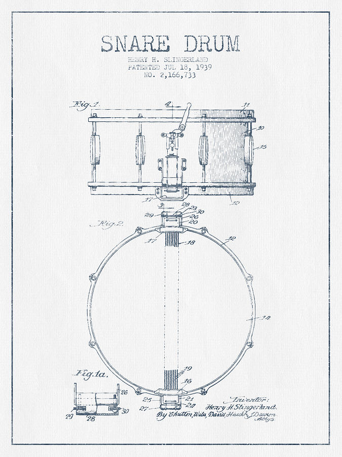 Snare Drum Drawing - Snare Drum Patent Drawing From 1939 - Blue Ink by Aged Pixel