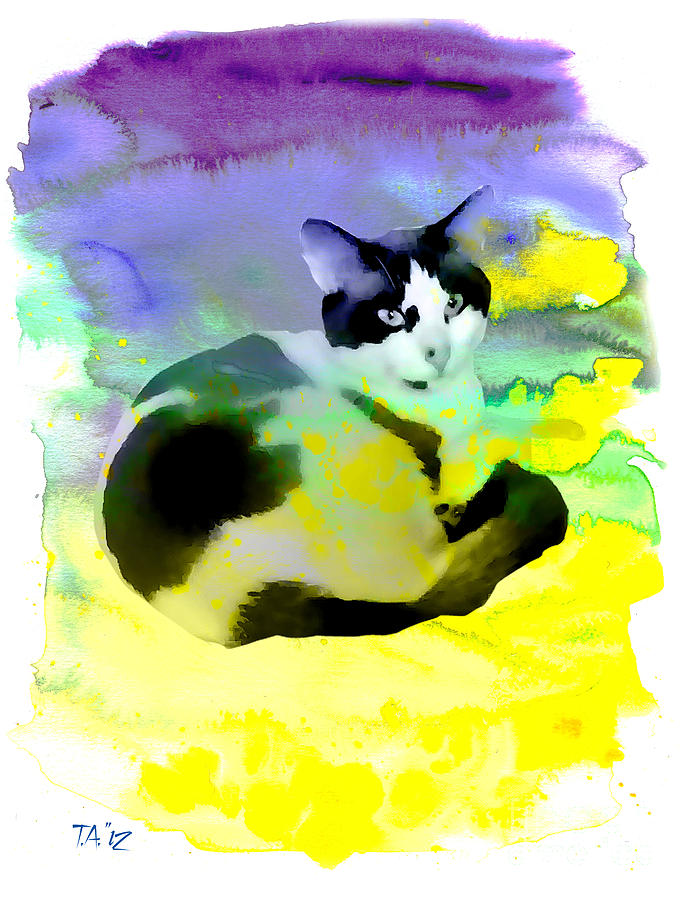Snow Ball Cat In Watercolor  Digital Art  - Snow Ball Cat In Watercolor  Fine Art Print