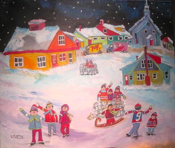 Snowball Fight Painting - Snow Battle Winter Memories by Michael Litvack