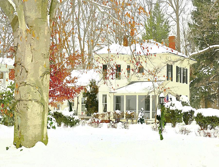 Snow Bound Victorian Home Photograph