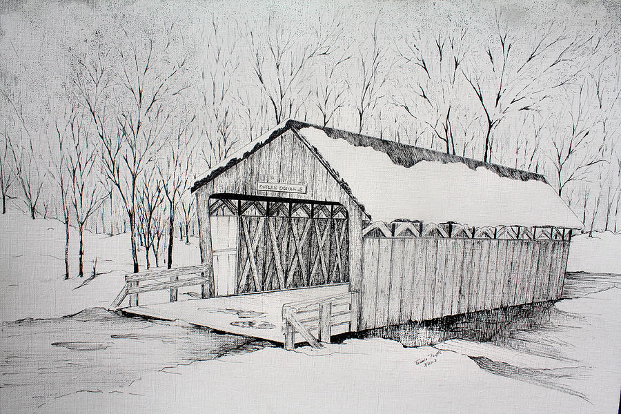 Snow Bridge 2012  Drawing  - Snow Bridge 2012  Fine Art Print