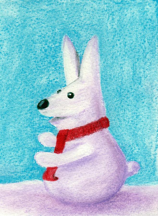 Snow Painting - Snow Bunny by Anastasiya Malakhova