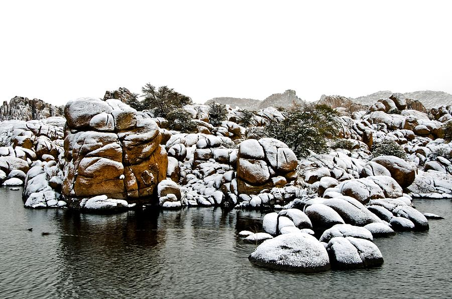 Snow-coated Granite Dells Photograph  - Snow-coated Granite Dells Fine Art Print