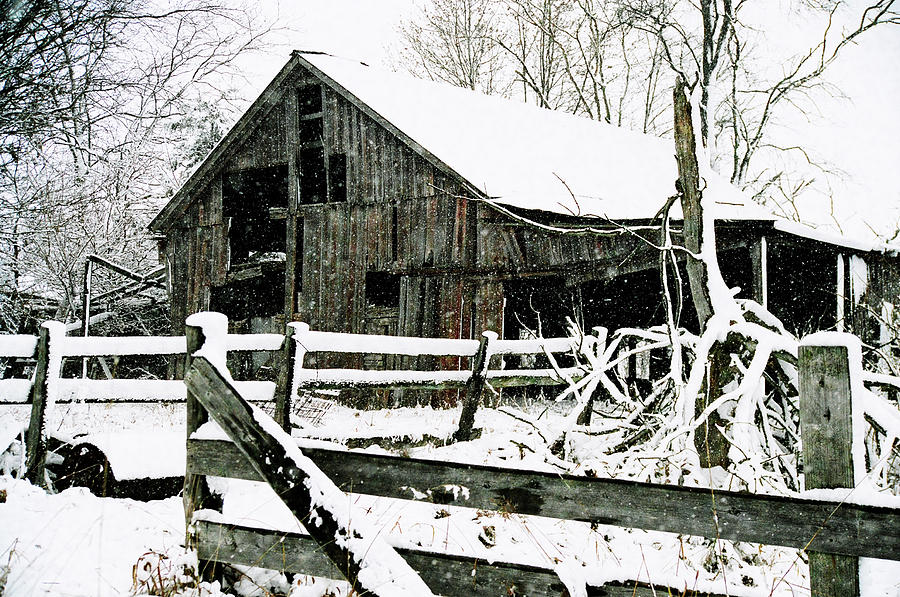 Snow Covered Barn Photograph