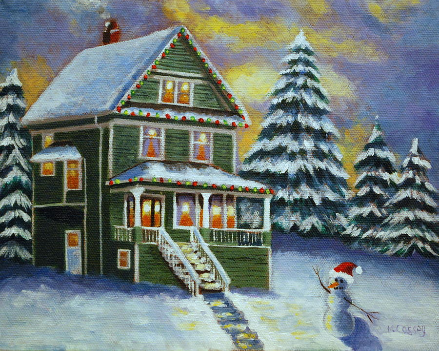 Victorian Christmas Painting - Snow Day by Melanie Cossey