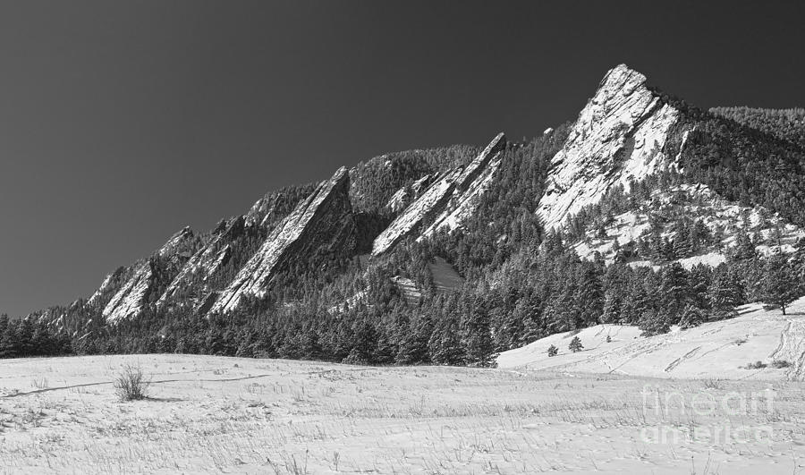 Snow Dusted Flatirons Boulder Co Panorama Bw Photograph