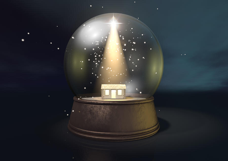 Snow Globe Nativity Scene Night Digital Art