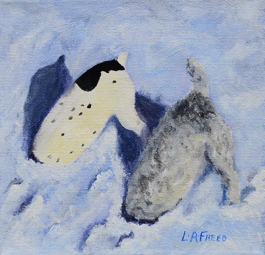 Dogs In Snow Paintings Painting - Snow Jacks by Linda Freed
