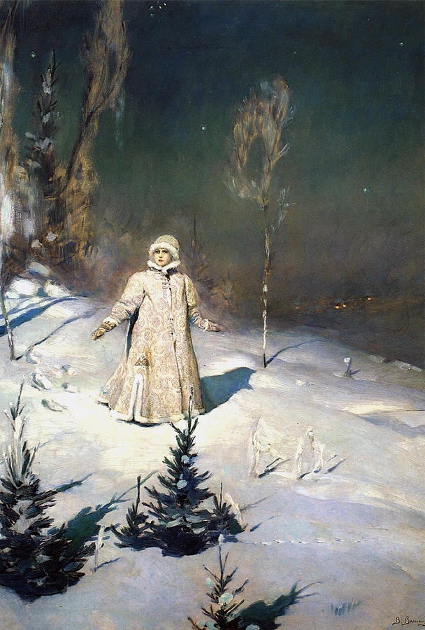 Snow Maiden 1899 By Vasnetsov  Painting  - Snow Maiden 1899 By Vasnetsov  Fine Art Print