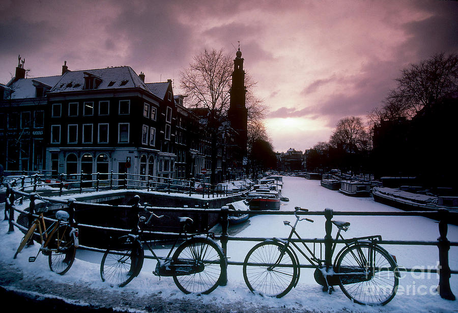 Snow On Amsterdam Canals Photograph