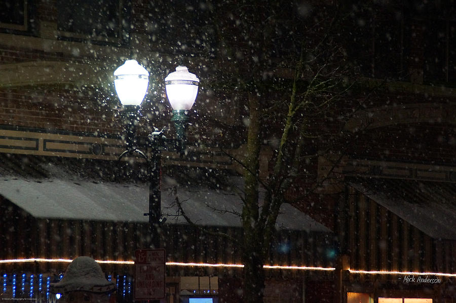 Snow On G Street In Grants Pass - Christmas Photograph