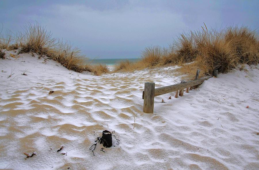 Snow On The Beach Photograph By David Decenzo