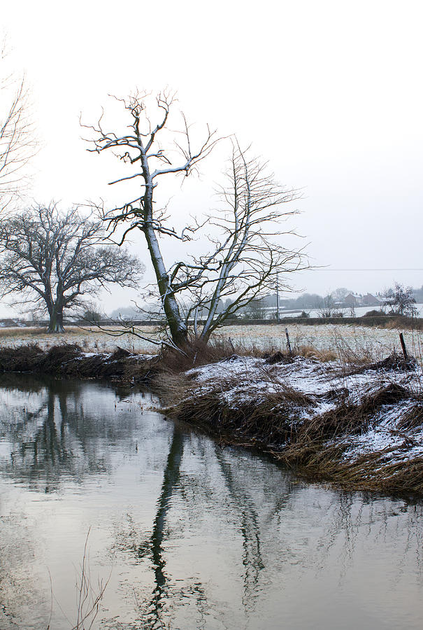 Snow Scene With River Running Through Photograph