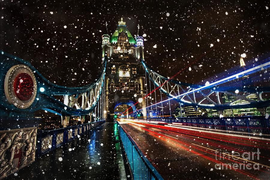Snow Storm Tower Bridge Photograph