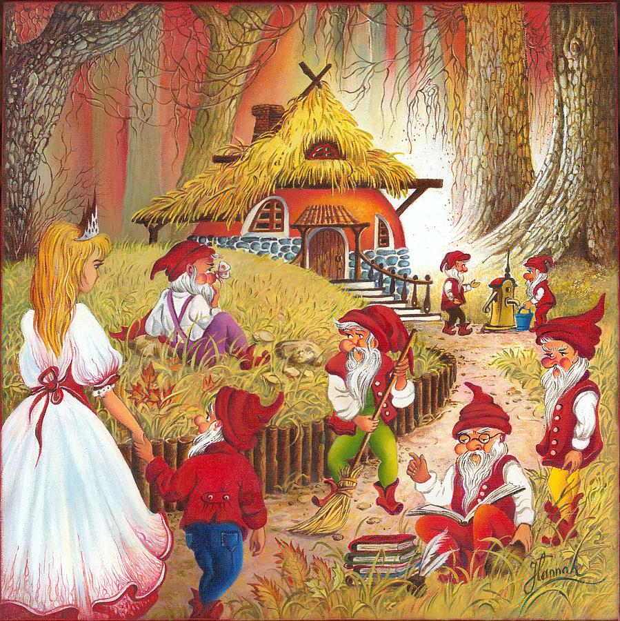 Snow White And The Seven Dwarfs Painting  - Snow White And The Seven Dwarfs Fine Art Print