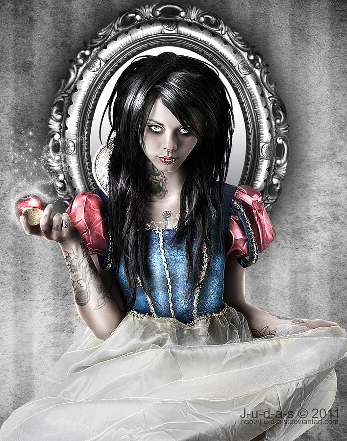 Dark Digital Art Snow White Twisted Fairy Tale Apple Digital Art - Snow White by Judas Art