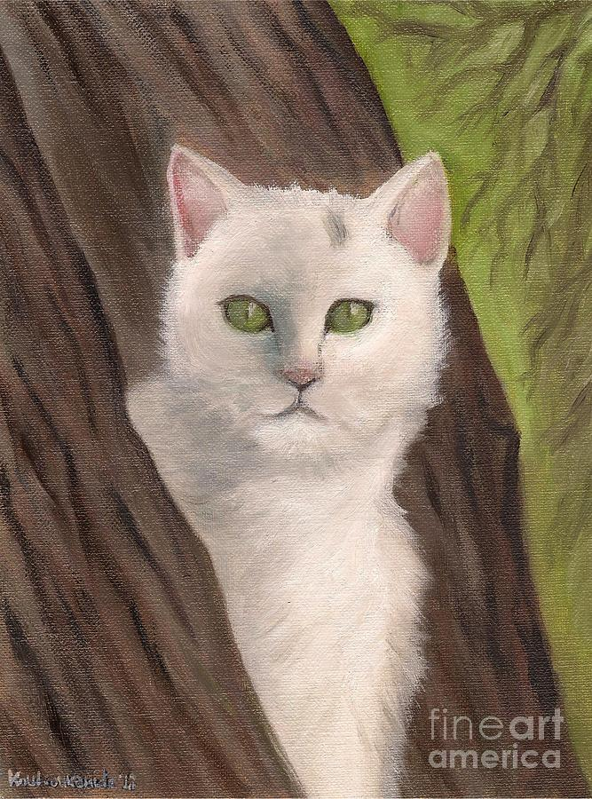 Snow White The Cat Painting  - Snow White The Cat Fine Art Print