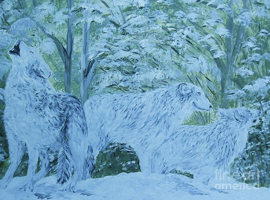 Snow Wolves Painting