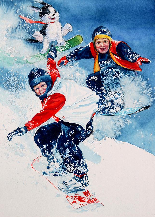 Snowboard Super Heroes Painting