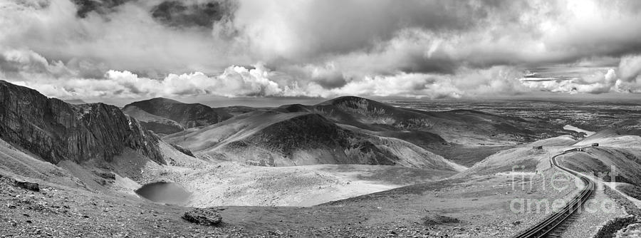 Snowdonia Panorama In Black And White Photograph