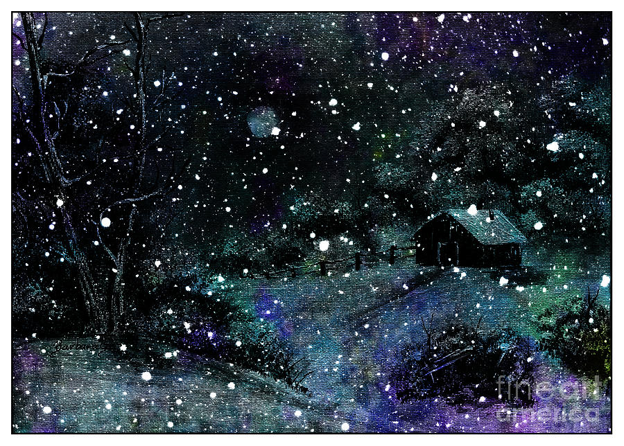 Snowfall At Night Painting  - Snowfall At Night Fine Art Print