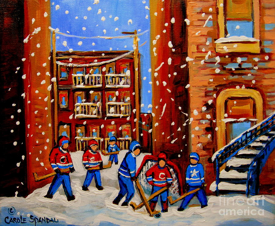Snowfall Hockey Game Winter City Scene Painting  - Snowfall Hockey Game Winter City Scene Fine Art Print