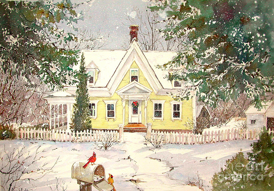 Snowing In Woodstock Painting  - Snowing In Woodstock Fine Art Print
