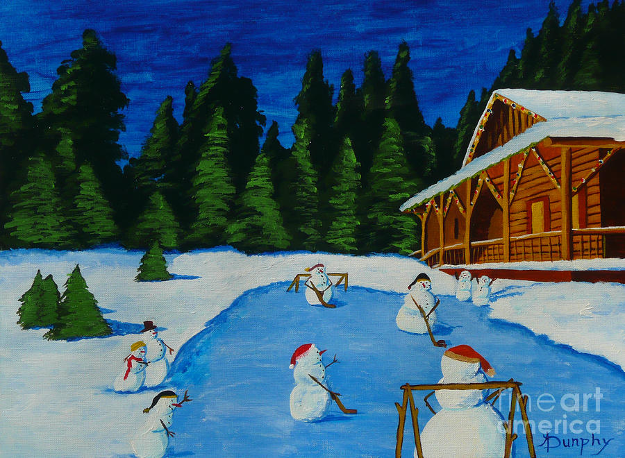 Snowmans Hockey Two Painting  - Snowmans Hockey Two Fine Art Print