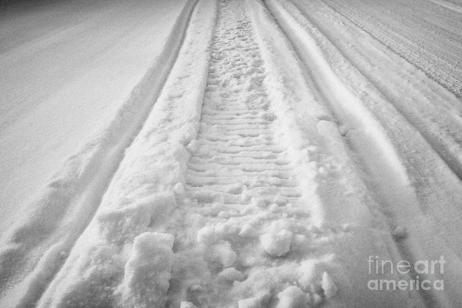 snowmobile tracks in snow in rural Forget Saskatchewan Canada Photograph  - snowmobile tracks in snow in rural Forget Saskatchewan Canada Fine Art Print