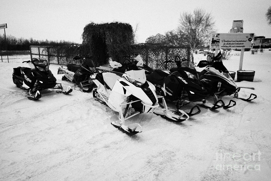 snowmobiles parked in Kamsack Saskatchewan Canada Photograph