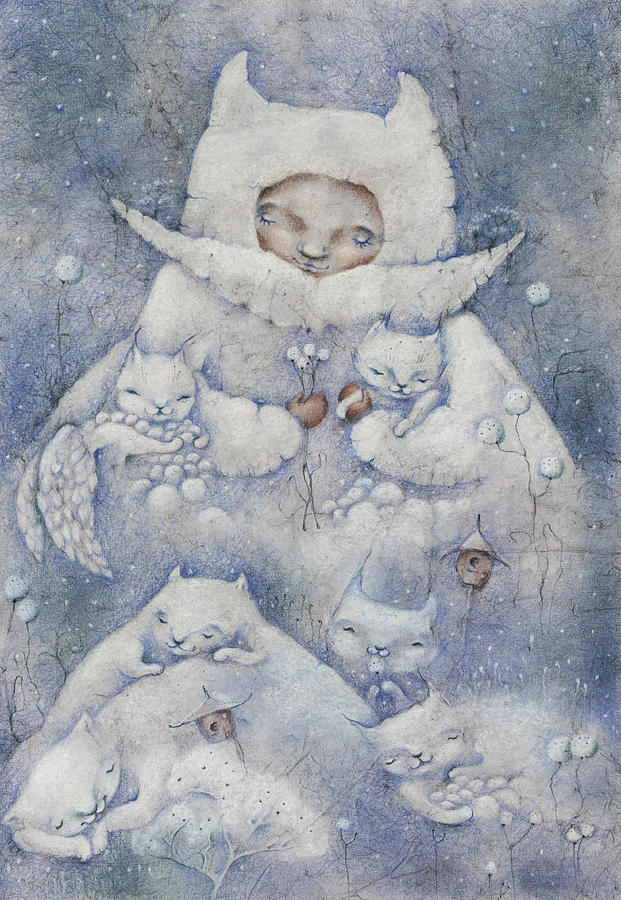 Cat Pastel - Snowy And Tender by Anna Petrova