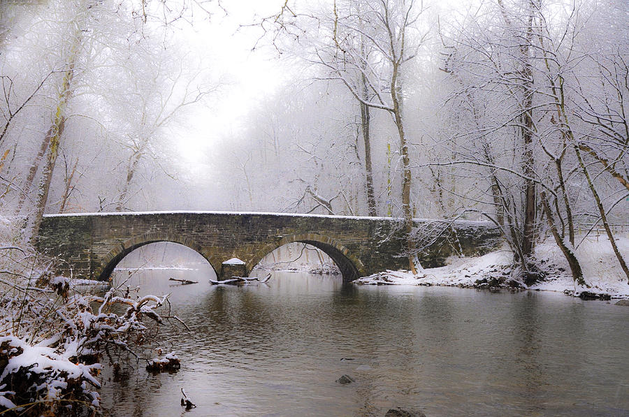 Snowy Photograph - Snowy Bells Mill Road Bridge by Bill Cannon