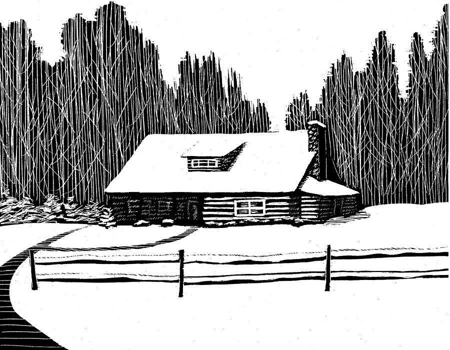 Snowy cabin in the woods drawing by jim harris Cabin drawings