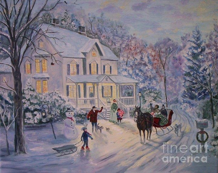 Snowy Christmas Painting