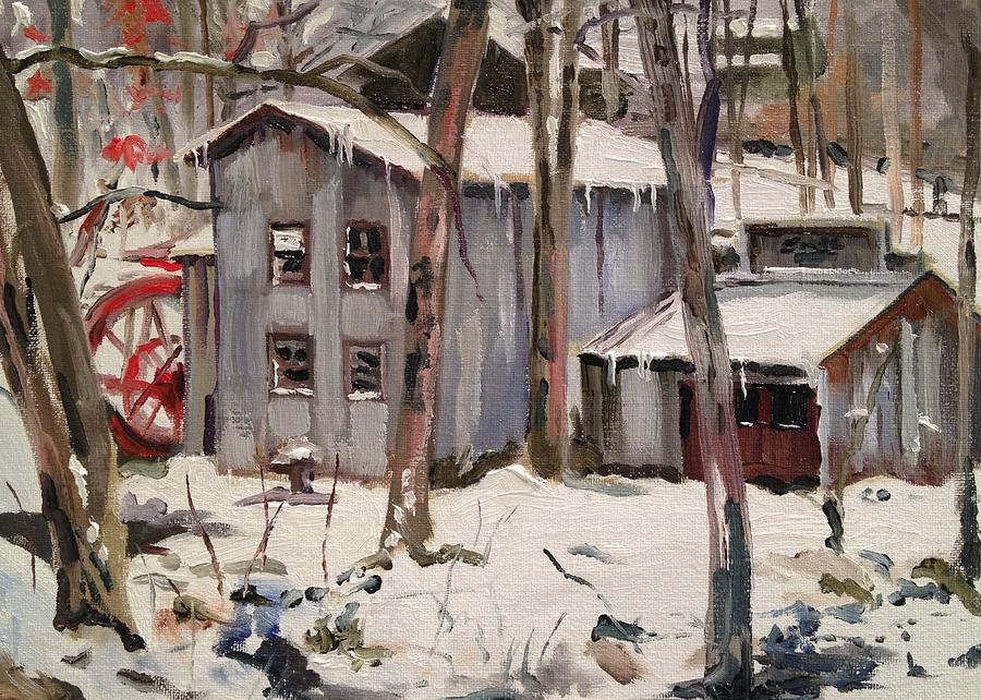 Snowy Day At Smith Mill Painting