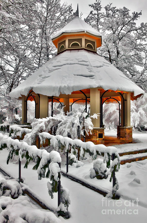 Snowy Gazebo - Greensboro North Carolina I Photograph