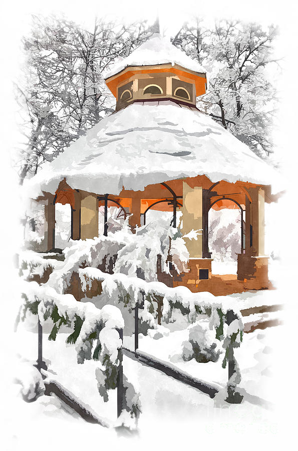 Snowy Gazebo - Greensboro North Carolina II Painting