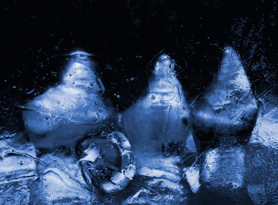 Snowy Ice Bottles - Blue Photograph